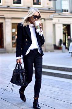 2016 Topshop Boots | Zara Knit  | Warehouse Skinny jeans  | Mango Blazer  | Balenciaga City Bag