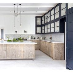 I love this kitchen ~ Via @sophielightlocations ~ The kitchen uses rough, raw woods paired with smooth countertops ~ a great way to add texture and visual interest to your kitchen ♡