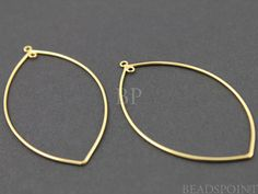 24K Gold Vermeil Over  Sterling Silver Marquis by Beadspoint, $11.99