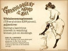 "Grandiloquent Word of the Day: Tibialoconcupiscent (TIB•ee•al•oh•kon•KEW•pis•ent) Adjective: -Having a lascivious interest in watching women put on stockings. From Latin tibia ""shinbone,"" also ""pipe,..."