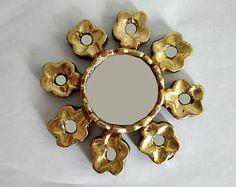 Santa Rosa Gold Wall Mirror with leaf Finish- Gold Artisan Mirror - Home Wall Decor - Peruvian Artisan Mirror - Floral Wall Mirror