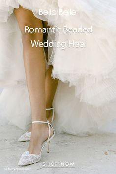 It's easy to see why Norah is voted as the most beautiful wedding shoes. Handmade floral beadwork on a classic ankle strap wedding heel shape. Perfect for romantic brides. Wedding Heels, Ankle Strap, Most Beautiful, Shop Now, Romantic, Bride, Lace, Floral, Handmade