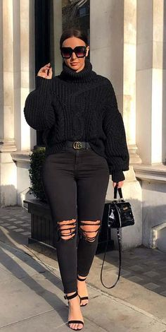 Looking for Stylish Jumper outfits? Find Inexpensive Winter Jumper Outfits i., teenage jumpers Looking for Stylish Jumper outfits? Find Inexpensive Winter Jumper Outfits i. Winter Outfits Women 20s, Casual Winter Outfits, Winter Fashion Outfits, Simple Outfits, Cute All Black Outfits, Fashion Fashion, Fashion Women, High Fashion, Curvy Outfits