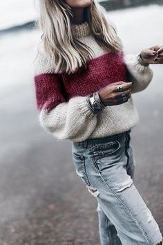 e3e4928c9c High Neck Color Block Patchwork Sweaters