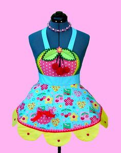 Girl's Apron  Cherry Blossom girls apron kids by OnceUponAPoodle