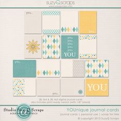 Free YOUnique Journal Cards from SuzyQ Scraps {on Facebook}