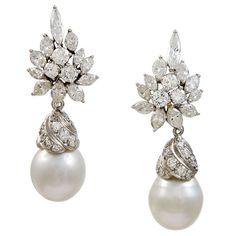 Glamorous   Diamond & Pearl  Drop  Earrings