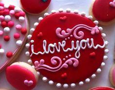 Valentines day cookies by AllysonsCookieJar on Etsy Cupcakes, Cookies Cupcake, Valentine's Day Sugar Cookies, Fancy Cookies, Iced Cookies, Cute Cookies, Royal Icing Cookies, Cookies Et Biscuits, Heart Cookies