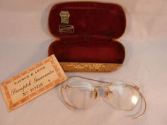 14d0341ad324 Bausch   Lomb Eyeglasses Spectacles Case Antique Vintage Gold Filled 1940s