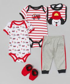 This Red & White Firetruck Bodysuit Set - Infant by Buster Brown is perfect! #zulilyfinds