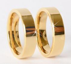a9045e7f0fb7b Alianças de Tungstênio 6mm reta banhadas em Ouro 18k   ATENÇÃO  CONFIRMAR  DISPONIBILIDADE DE