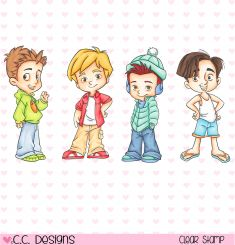 Stempel - C. Designs - 4 Seasons Boys w kategorii stemple na piance / gumowe stemple / Stemple i akcesoria Love Stamps, Clear Stamps, Rockabilly Kids, Blue Nose Friends, Cute Girl Drawing, Album Design, Colorful Drawings, Pictures To Paint, Chibi