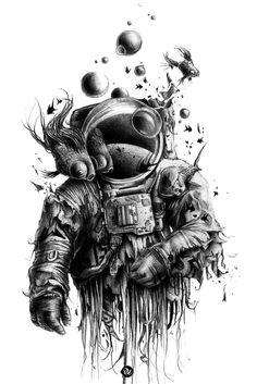 Astronaut Torn Apart. Space Fish.