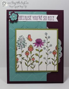 I used the Stampin' Up! Flowering Fields and Botanicals For You Sale-a-bration stamp sets to create my card to share today. My card design was inspired by Mojo Monday 430. I started by sponging hal...