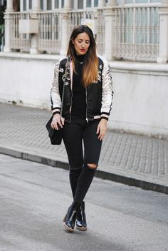 Embroidered bomber. http://www.fashion-south.com/2016/03/embroidered-bomber.html