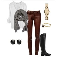 Red leather pants, black and white striped scarf, simple cute outfit