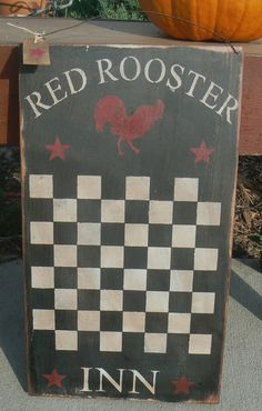 images of roosters to paint on wood | RED ROOSTER INN Primitive Folk Art Checkerboard Game Board Wood Sign