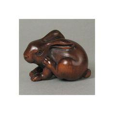 "Genuine Boxwood handcrafted ""Rabbit"" netsuke, size: 1-13/16""(46mm) x 1-5/16"" (34mm) x 1-1/4"" (32mm)"