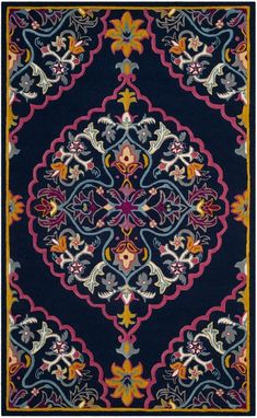 Safavieh Bellagio x Rectangle Wool Hand Tufted Traditional Area R Navy Blue / Multi Rugs Area Rugs Navy Rug, Traditional Area Rugs, Thing 1, Contemporary Home Decor, Hand Tufted Rugs, Throw Rugs, Blue Area Rugs, Colorful Rugs, Vibrant Colors
