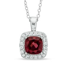Zales 7.0mm Princess-Cut Lab-Created Ruby and White Sapphire Pendant in Sterling Silver JnYbmYlCVT