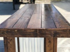 The Plank Provincial - 8 foot mobile corrugated metal exterior patio bar - Eric Barden - Kitchen Bars Bar Patio, Outdoor Patio Bar, Big Green Egg Outdoor Kitchen, Outdoor Kitchen Bars, Shabby, Style Rustique, Palette, Deck Decorating, Diy Bar