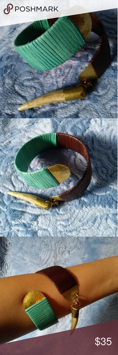 Vintage Tribal Arm Bracelet Perfect for a vintage tribal look. Boho style. Earthy colors teal, brown, gold. Not FP. Free People Jewelry Bracelets