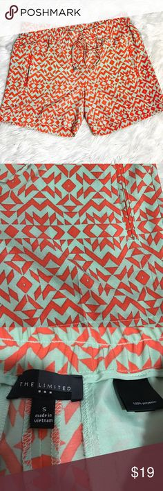 """The Limited Aztec print Shorts Small These are so cute!  They have never been worn. Mint green and orange print. Elastic waist with draw string. 100% polyester. 5"""" inseam. 14"""" outerseam. Waist measures 15.5"""" across laying flat unstretched. The Limited Shorts"""
