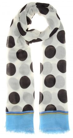 Dolce & Gabbana - Scarf - Combining hues of black and white in a polka-dot design, all finished with a splash of blue at the ends.