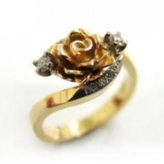 18ct Yellow, White & Rose Gold and Diamond Ring made at Cameron Jewellery