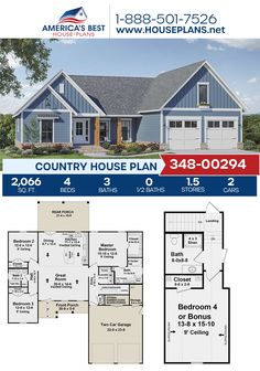 Plan 348-00294 features a darling Country home design detailing 2,066 sq. ft., 4 bedrooms, 3 bathrooms, split bedrooms, a kitchen island, an open floor plan, and a bonus room. #country #architecture #houseplans #housedesign #homedesign #homedesigns #architecturalplans #newconstruction #floorplans #dreamhome #dreamhouseplans #abhouseplans #besthouseplans #newhome #newhouse #homesweethome #buildingahome #buildahome #residentialplans #residentialhome Country House Design, Country House Plans, Best House Plans, Dream House Plans, Dormer Windows, Open Floor, New Construction, Building A House, Kitchen Island