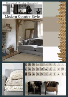 I love this soft paint palette: Little Greene Mid Lead, Farrow and Ball Mouse's Back, Farrow and Ball Pavilion Gray and Dulux Linnet, against a sisal rug from Zebra Home; Leather chairs just get better and better, and always pop against white walls.... Full details on Modern Country Style blog: Get The Look: Softly White Interiors
