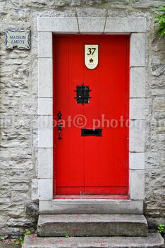 Red Door Fine Art Photography Old Town Charm Quebec City Romantic Red Storytelling Minimalist Modern
