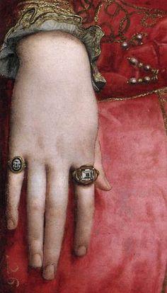 Eleonora di Toledo, (detail), Agnolo Bronzino, 1543