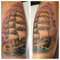 Kris Smith. #coastline #coastlinetattoo #tattoo #ptown #provincetown #capecod #customtattoos #pride #pridetattoos #massachusetts #massachusettstattoo #decoratetheworld #tattooartist #tattooartistmagazine #tattooculturemagazine #getawesome!#krissmith #clippership #ship #color #calf #boat #realistic