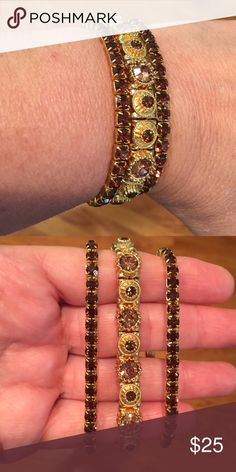 hello summer3 brown and gold tone bracelets Beautiful stretch bracelets. 2 are brown rhinestone and one is light brown and dark brown different size rhinestones Jewelry Bracelets
