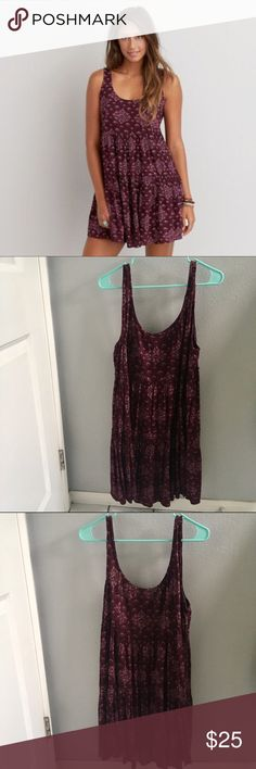AEO Tiered Babydoll Slip Dress This dress is a flowy, flattering piece for spring and summer. It features a scoop neck, tiered fabric, and bohemian pattern. It's only been worn once and is in great condition. American Eagle Outfitters Dresses Mini