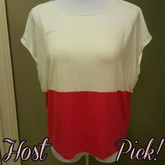 HP Spring Wish List Party NWOT 2/24 Host Pick of the Spring Wish List Party! NWOT color block top. So pretty on to add that pop of color for spring.  Fabric Content: 95% Rayon 5% Spandex point Tops