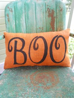 BOO HALLOWEEN Spooky Fun Painted ORANGE Burlap by TakeFlyteFarm, $24.00