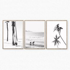 Set of 3 Black and White Surf Prints Beach Wall Art Digital Printable Palm Trees Wall Art Ocean Printable Surfers Print Instant Diwnload Palm Tree Art, Palm Trees, Black And White Beach, Surf Decor, Beach Wall Art, Beach House Decor, Printable Wall Art, Wall Art Prints, Surfing