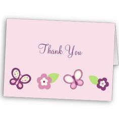 Sugar Plum Butterfly Thank You Note Cards for Girl Baby Shower Thank You Notes