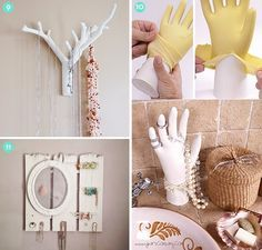 ideas for bedrooms: 9. DIY Twig Branch Jewelry Holder not the hand. it's too creepy 11. DIY Fence Board and Frame Jewelry Organizer