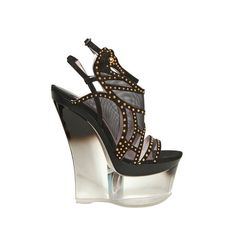 Versace 160mm Studded Suede And Mesh Wedges ($754) ❤ liked on Polyvore featuring shoes, wedges, heels, versace, suede wedge shoes, suede platform shoes, studded wedge shoes, versace footwear and platform wedge shoes