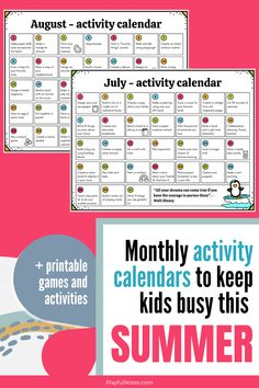 Download the monthly activity calendars for kids and add more fun to this summer!   📌 If you are looking for more activity ideas, the printable Summer Fun Kit for kids includes everything you need to:  ✅ add more joy to this summer ✅ make memories with your kids 😍  ✅ keep the little ones busy (and happy) for hours! Home Preschool Schedule, Preschool Activities At Home, Indoor Activities For Kids, Toddler Activities, Happy Kids, Happy Family, Family Life, Gentle Parenting, Parenting Tips