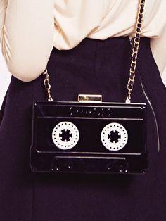 Dahlia Recife Black Perspex Cassette Case Clutch Bag