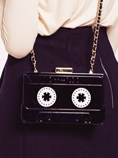 Dahlia Recife Black Perspex Cassette Case Clutch Bag