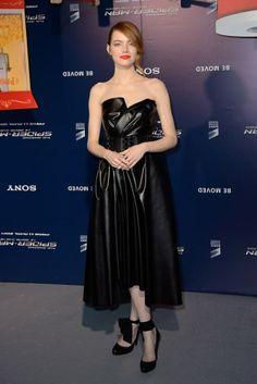 "Emma Stone Wears Lanvin Leather at ""The Amazing Spider-Man 2″ Paris Premiere"