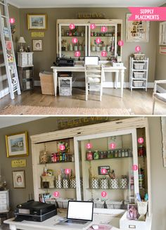 Cute studio set up with organizing ideas.
