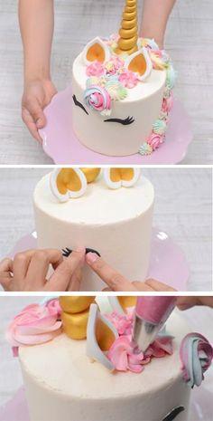 Cute Unicorn cake tutorial - the best birthday cake Nettes Einhornkuchen-Tutorial - der beste Cool Birthday Cakes, Birthday Cake Girls, Diy Unicorn Cake, How To Make A Unicorn Cake, Fondant Cakes, Cupcake Cakes, Fete Audrey, Friends Cake, Buttercream Flower Cake
