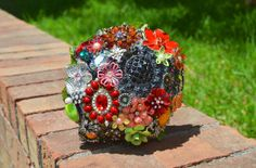 Coral, Greens and Yellows Fall brooch bridal bouquet