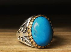925 K Sterling Silver Man Ring Blue Turquoise 12 US Size B19-64508 #istanbul #Cluster
